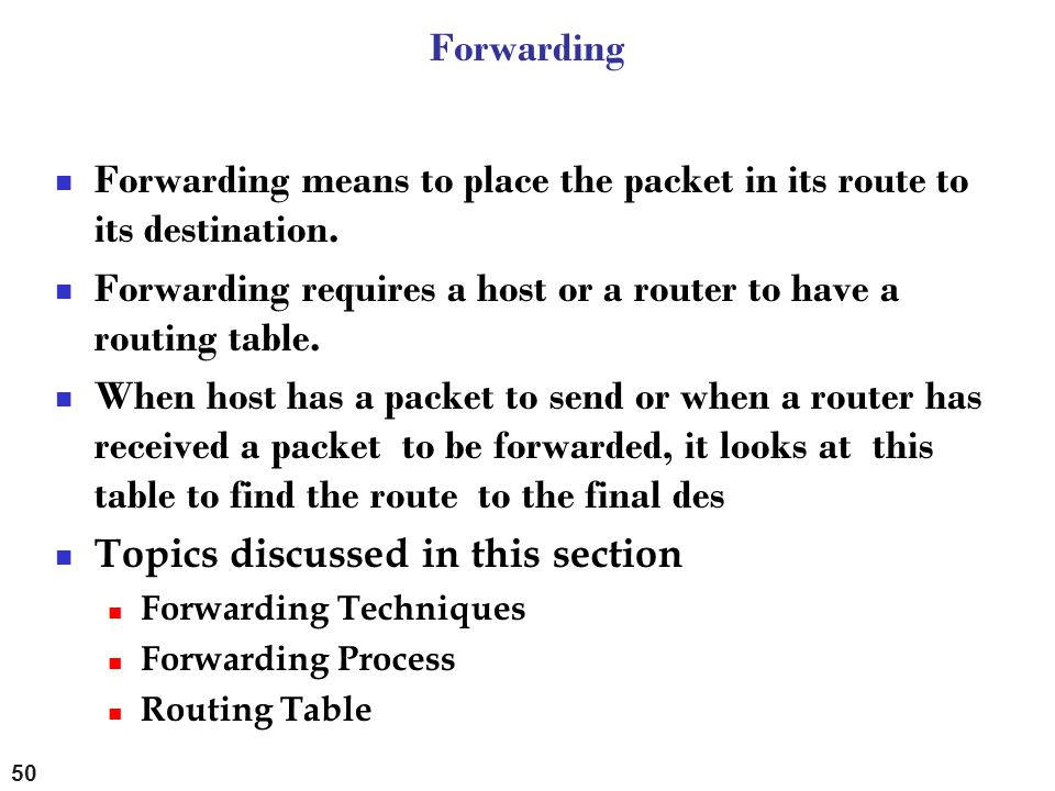 Forwarding means to place the packet in its route to its destination.