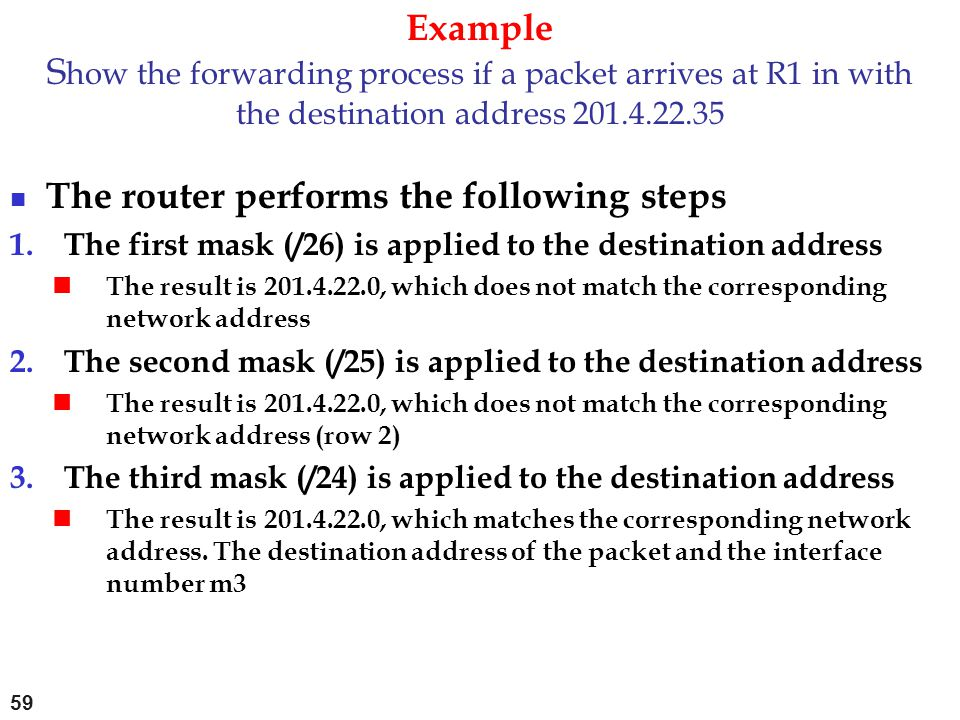 The router performs the following steps