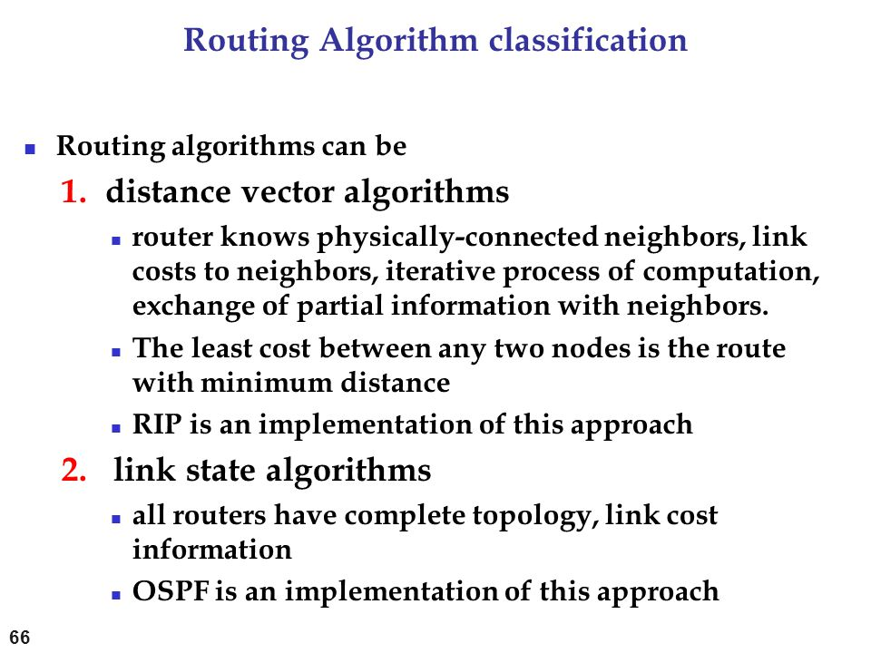 Routing Algorithm classification