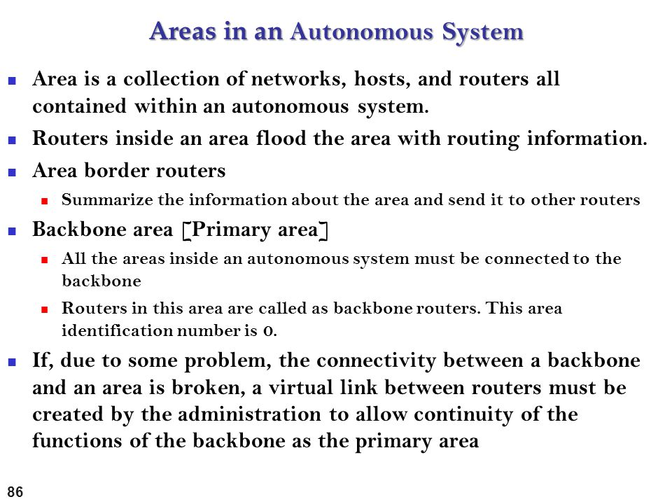 Areas in an Autonomous System
