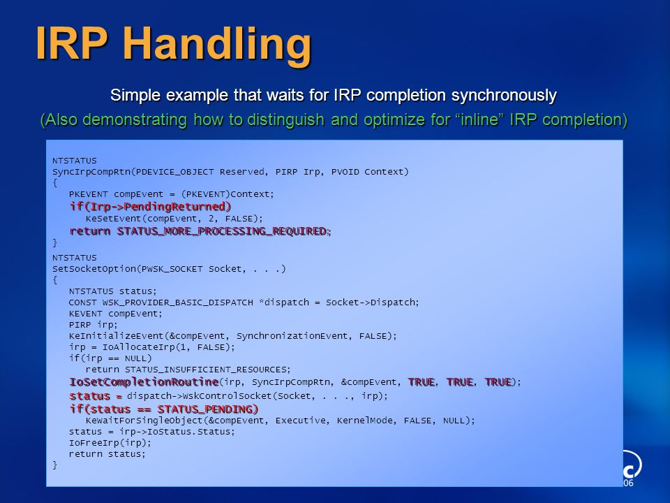 Simple example that waits for IRP completion synchronously