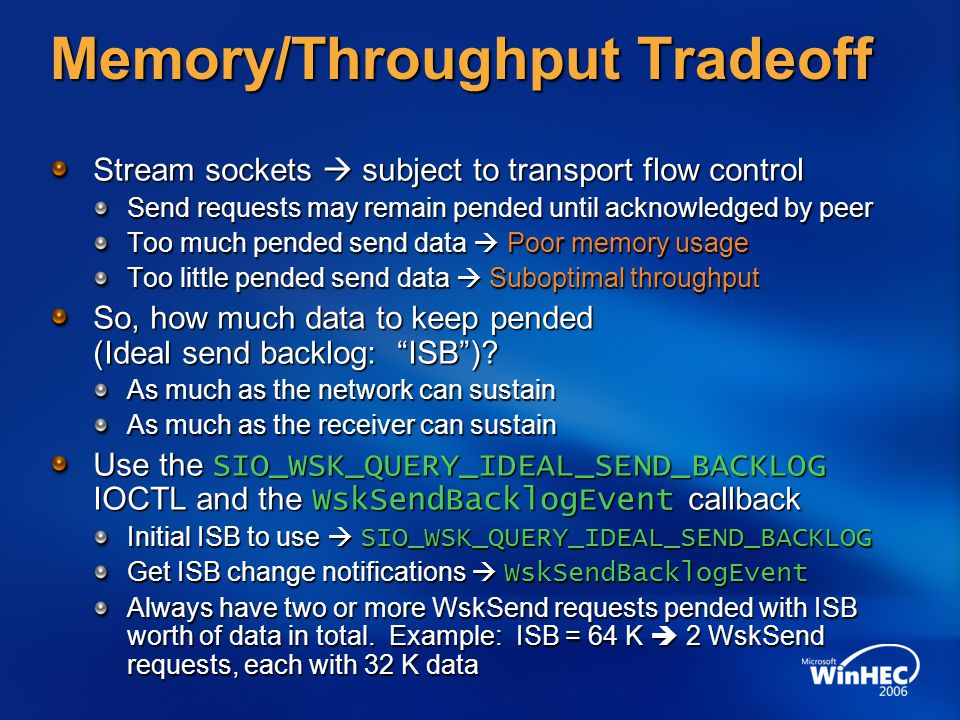 Memory/Throughput Tradeoff