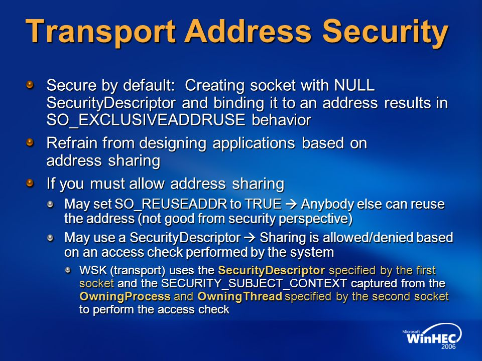 Transport Address Security
