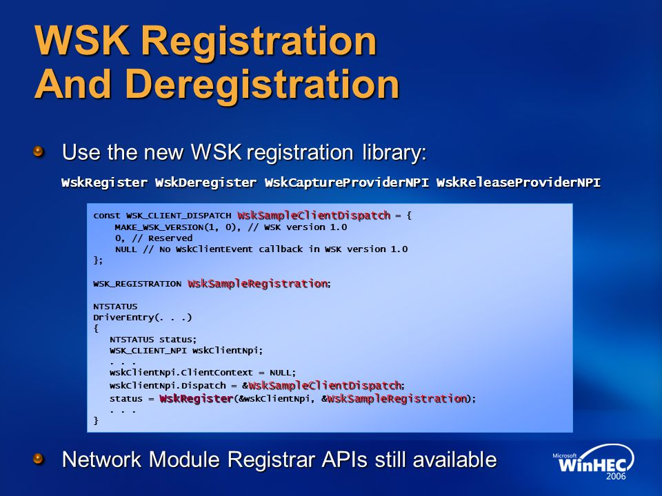 WSK Registration And Deregistration