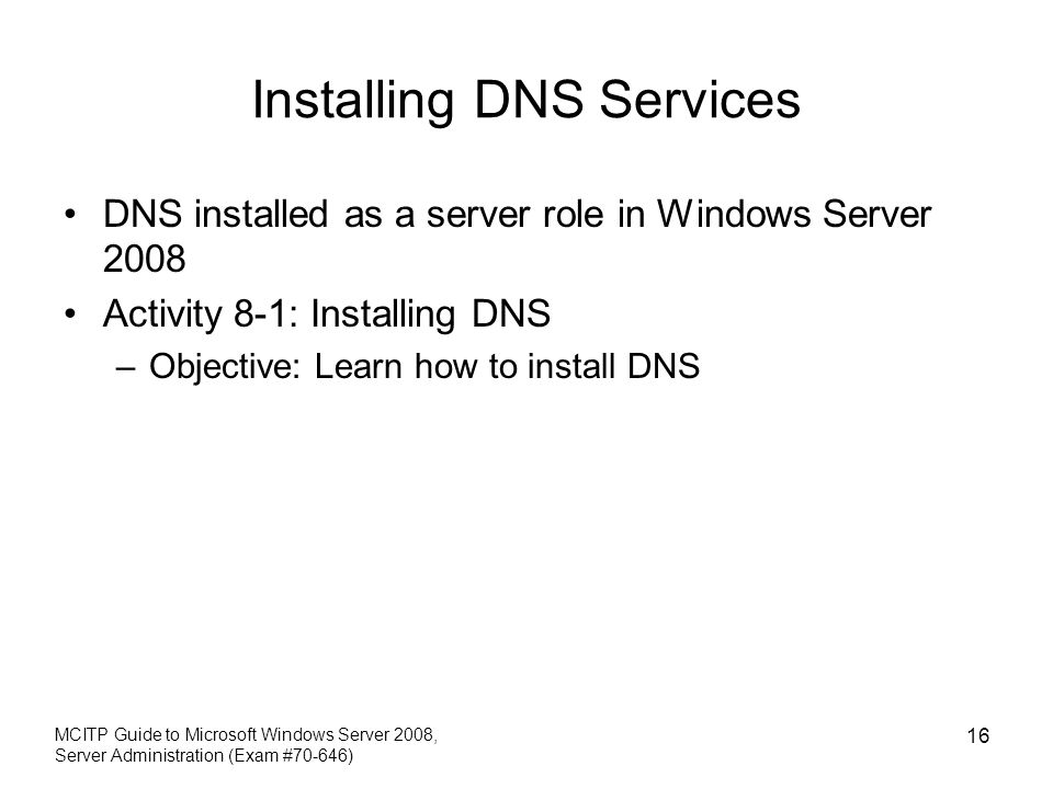 Installing DNS Services
