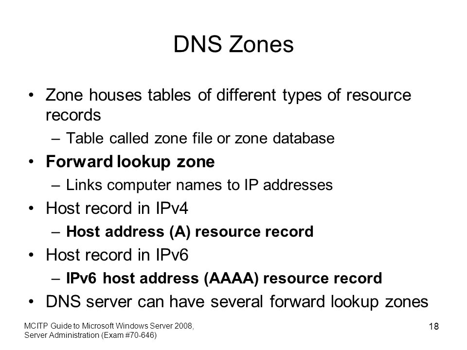 DNS Zones Zone houses tables of different types of resource records