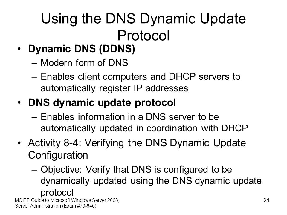Using the DNS Dynamic Update Protocol