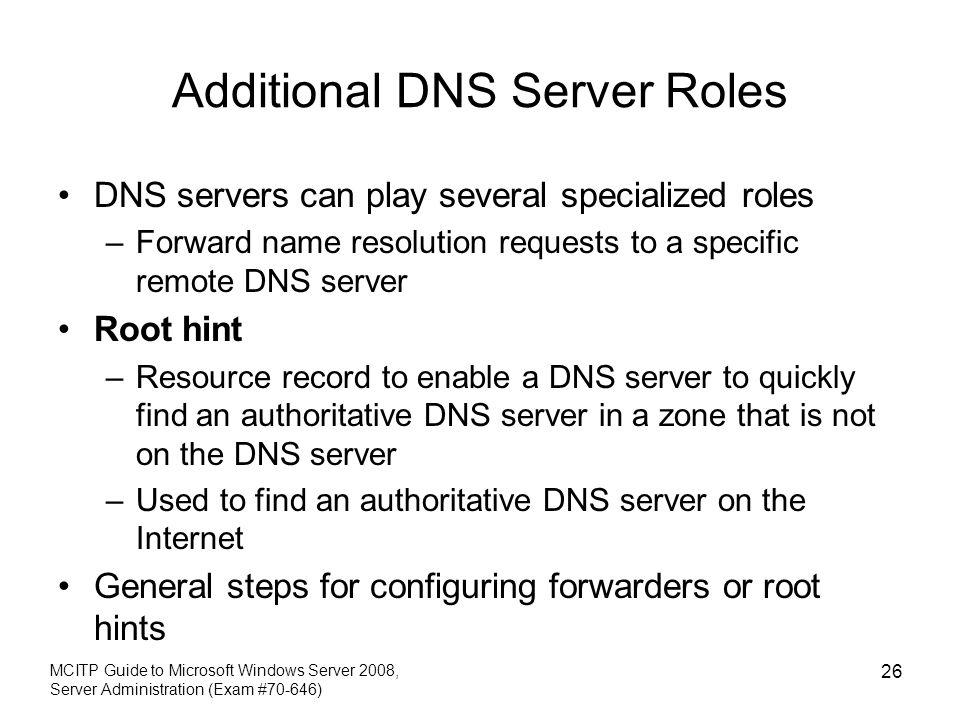 Additional DNS Server Roles