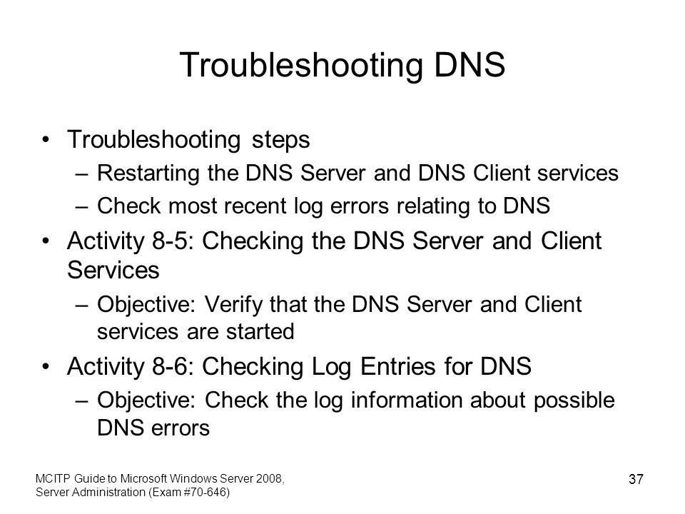 Troubleshooting DNS Troubleshooting steps