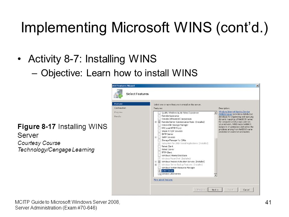 Implementing Microsoft WINS (cont'd.)