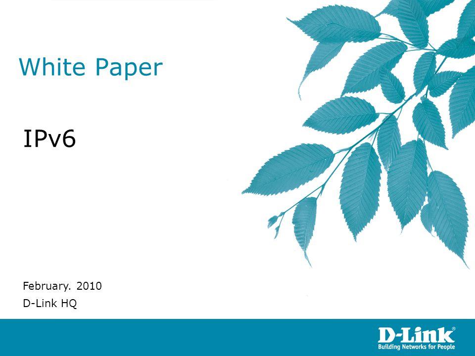 White Paper IPv6 February. 2010 D-Link HQ