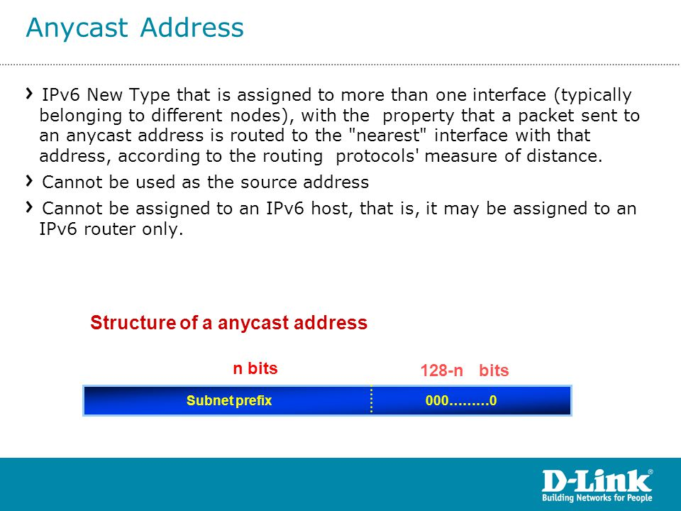 Structure of a anycast address