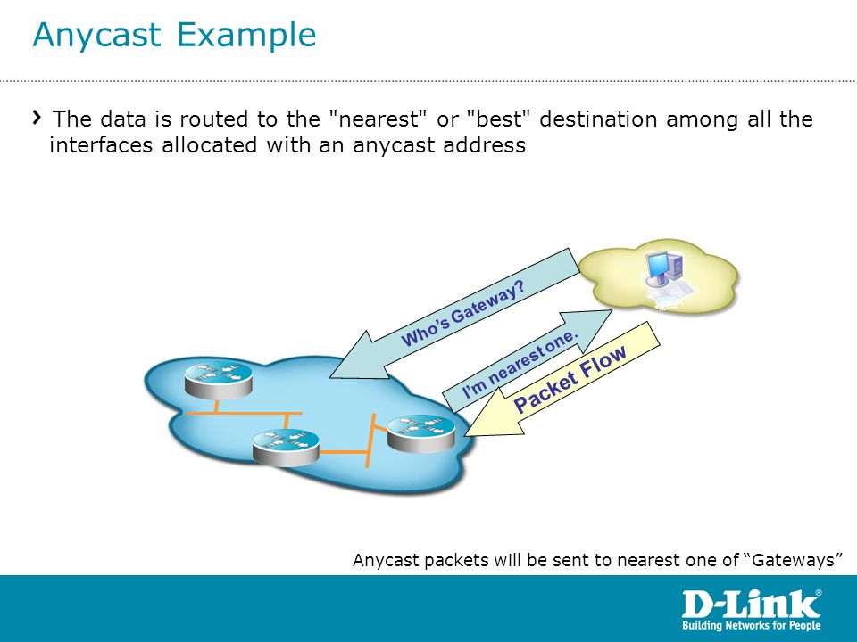 Anycast Example The data is routed to the nearest or best destination among all the interfaces allocated with an anycast address.