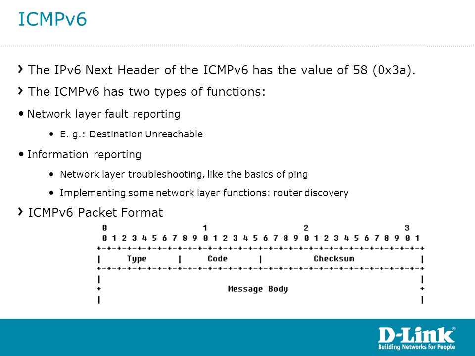 ICMPv6 The IPv6 Next Header of the ICMPv6 has the value of 58 (0x3a).