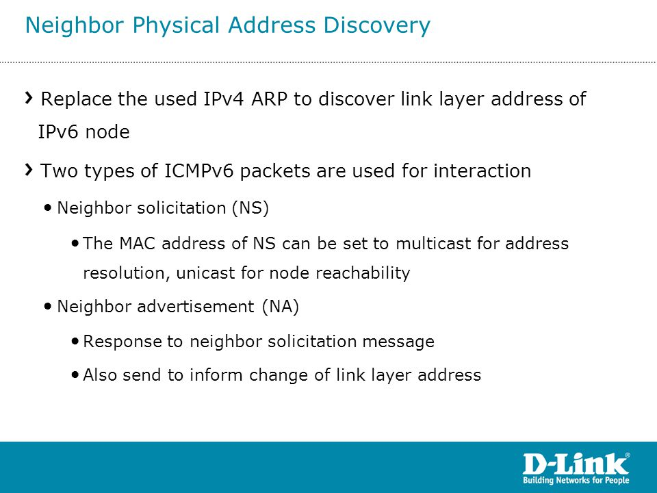 Neighbor Physical Address Discovery