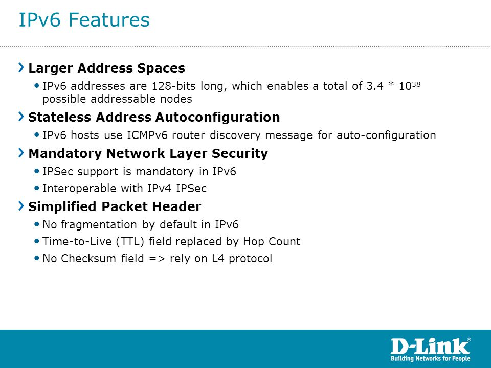 IPv6 Features Larger Address Spaces