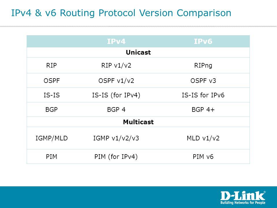 IPv4 & v6 Routing Protocol Version Comparison
