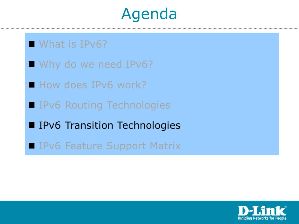 Agenda What is IPv6 Why do we need IPv6 How does IPv6 work