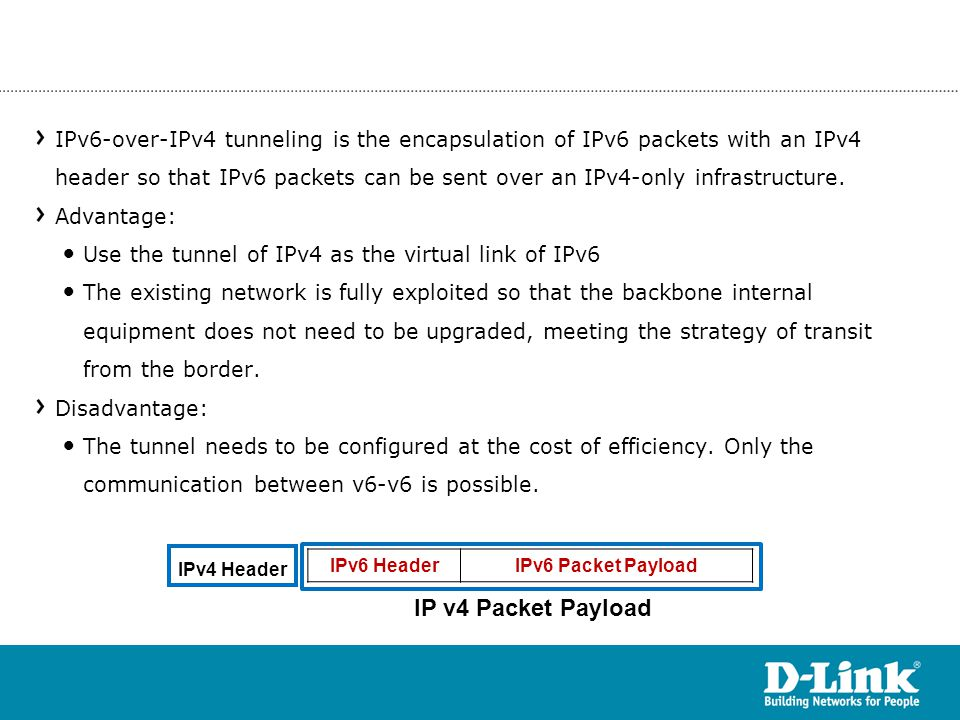 IPv6-over-IPv4 tunneling is the encapsulation of IPv6 packets with an IPv4 header so that IPv6 packets can be sent over an IPv4-only infrastructure.