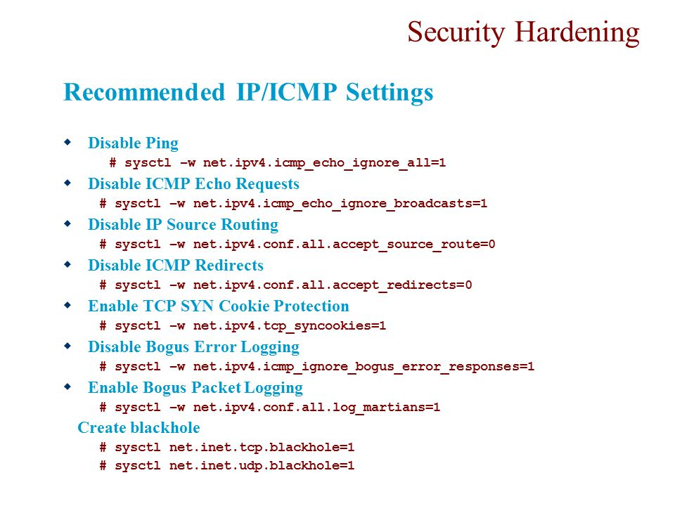 Security Hardening Recommended IP/ICMP Settings Disable Ping