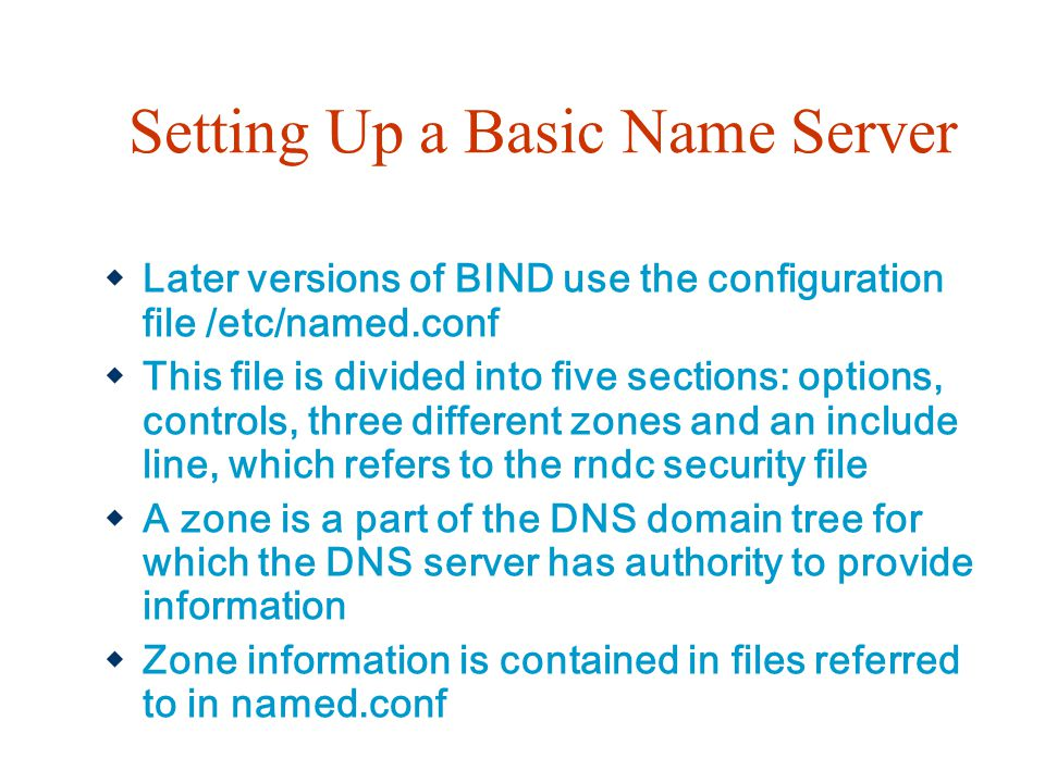 Setting Up a Basic Name Server
