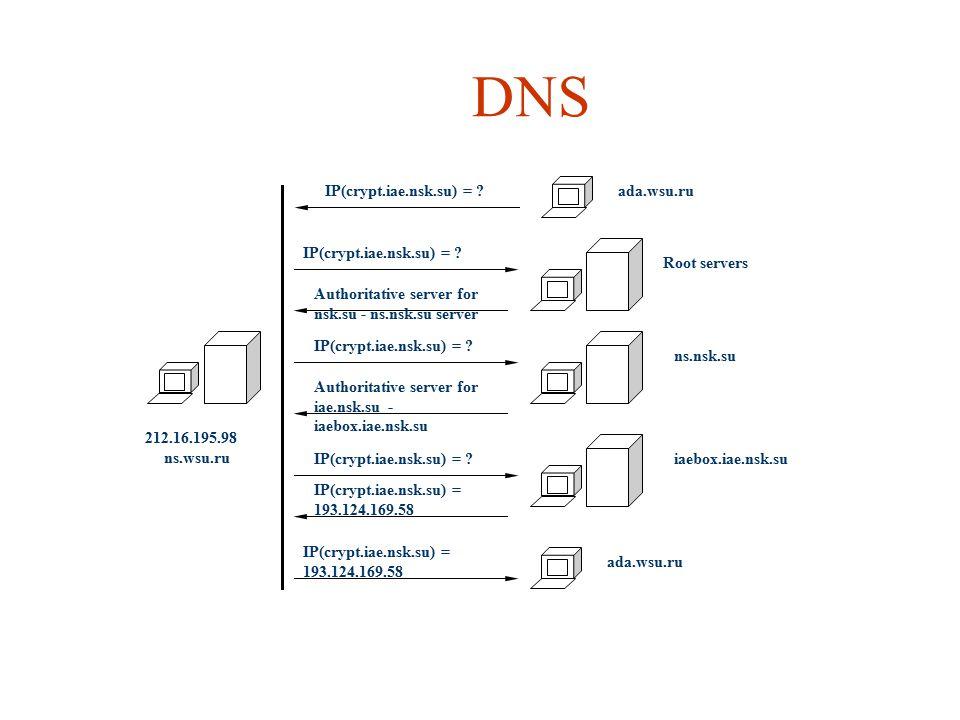DNS ada.wsu.ru IP(crypt.iae.nsk.su) = Root servers