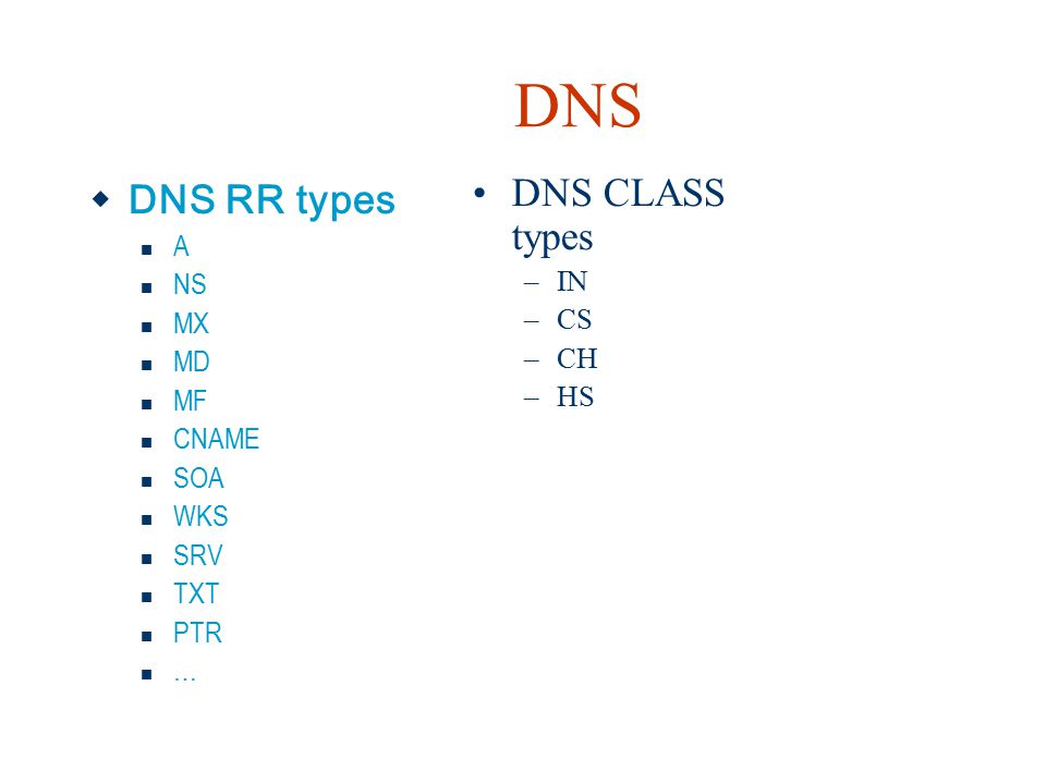 DNS DNS CLASS types DNS RR types A IN NS CS MX CH MD HS MF CNAME SOA