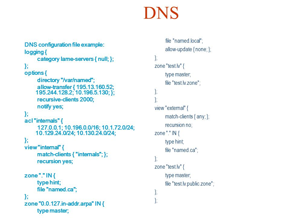 DNS file named.local ; allow-update { none; };