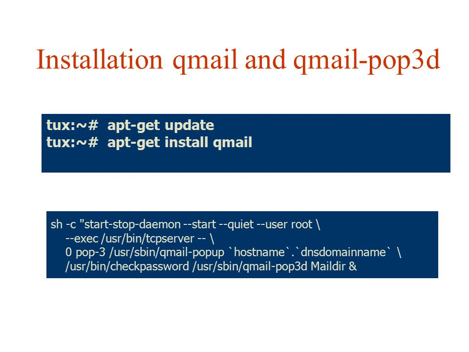 Installation qmail and qmail-pop3d
