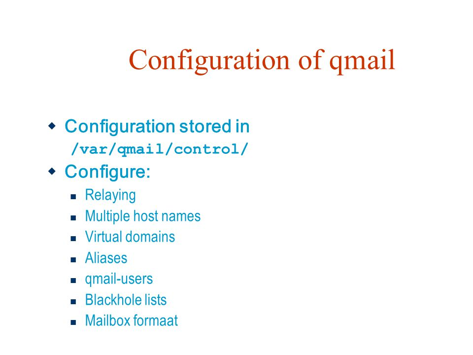 Configuration of qmail