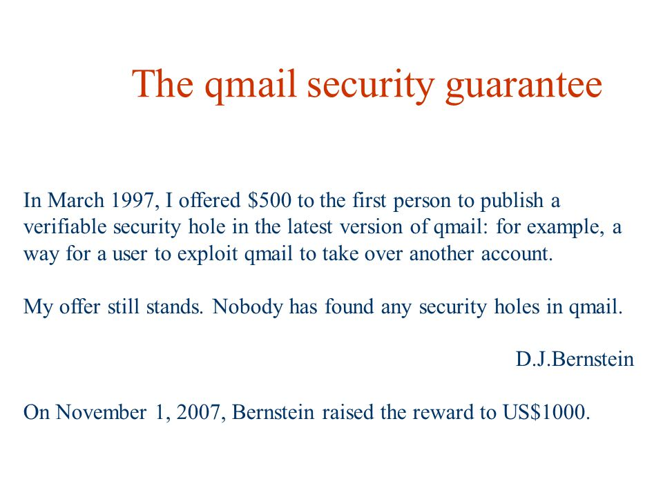 The qmail security guarantee