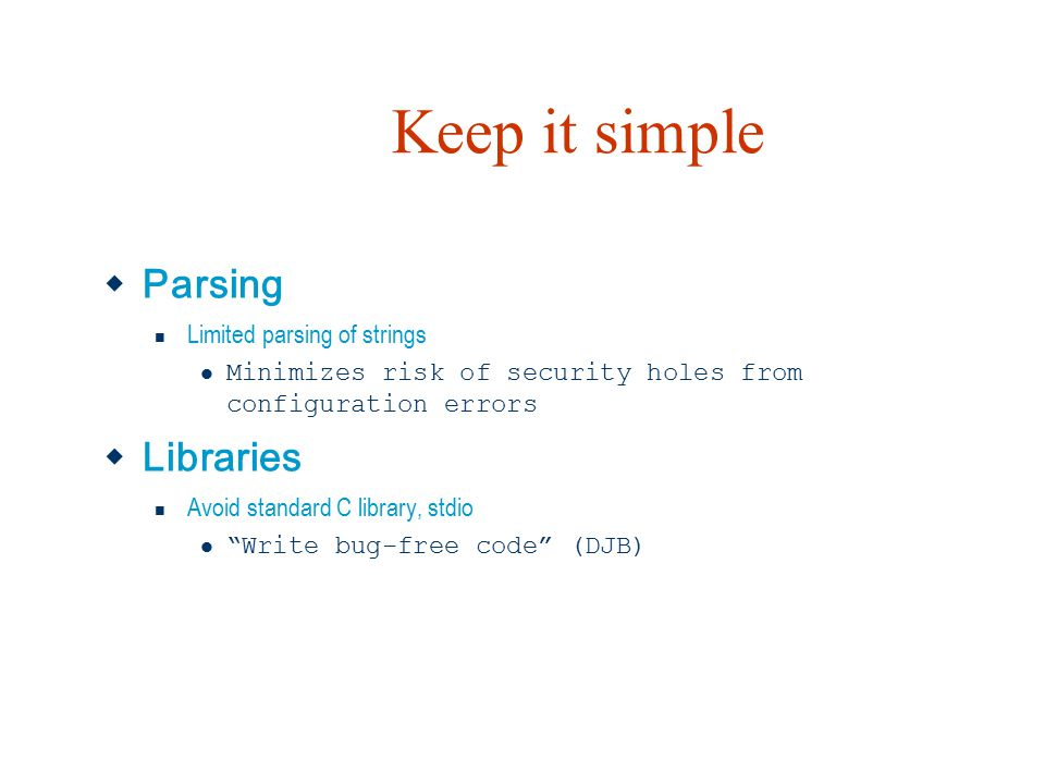 Keep it simple Parsing Libraries Limited parsing of strings
