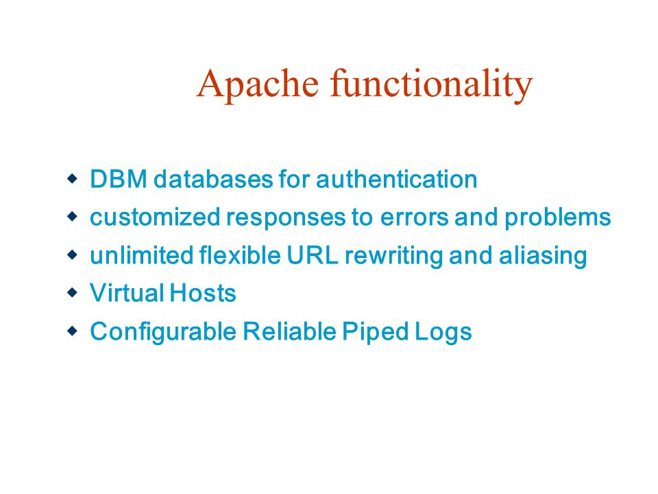 Apache functionality DBM databases for authentication