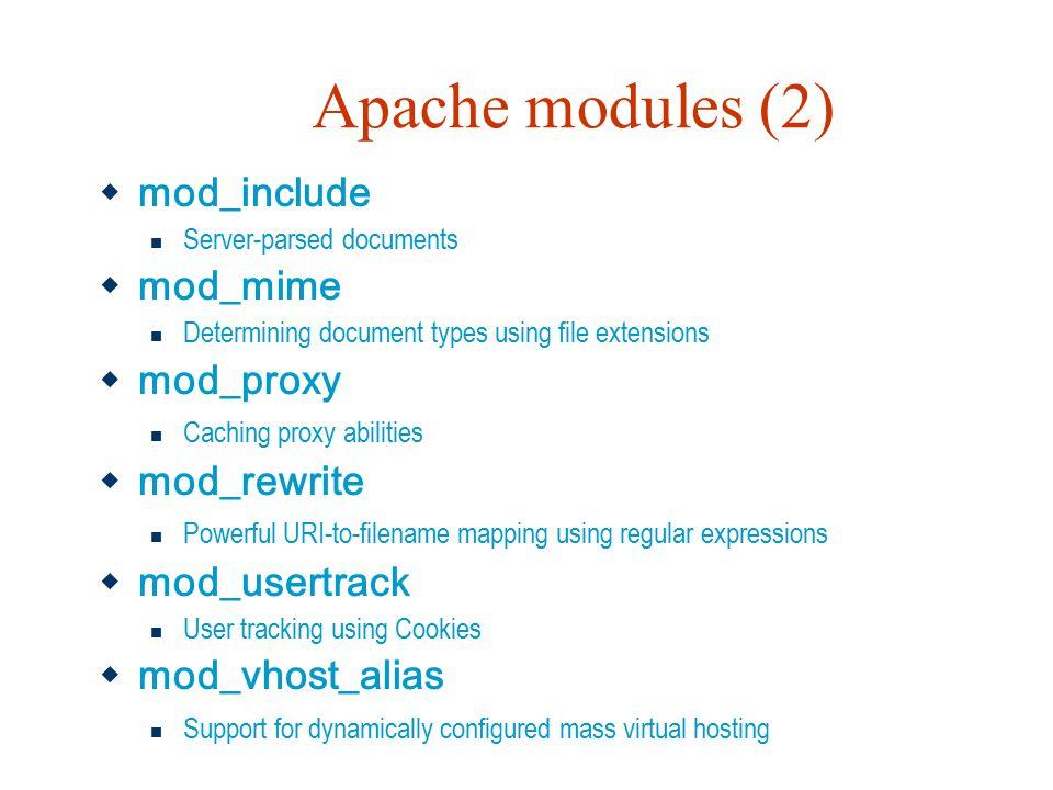 Apache modules (2) mod_include mod_mime mod_proxy mod_rewrite