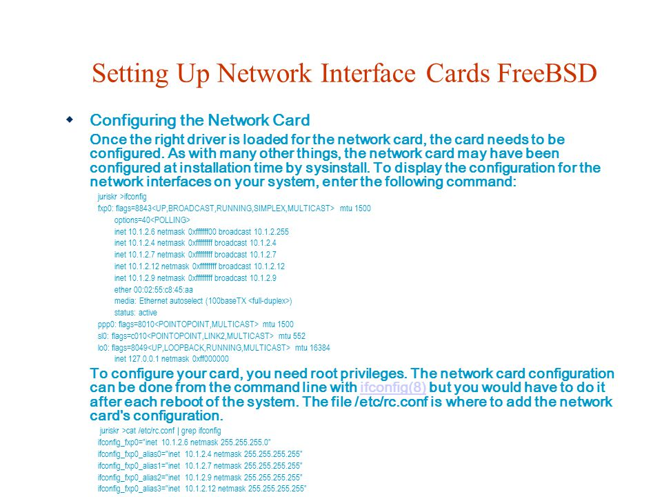 Setting Up Network Interface Cards FreeBSD