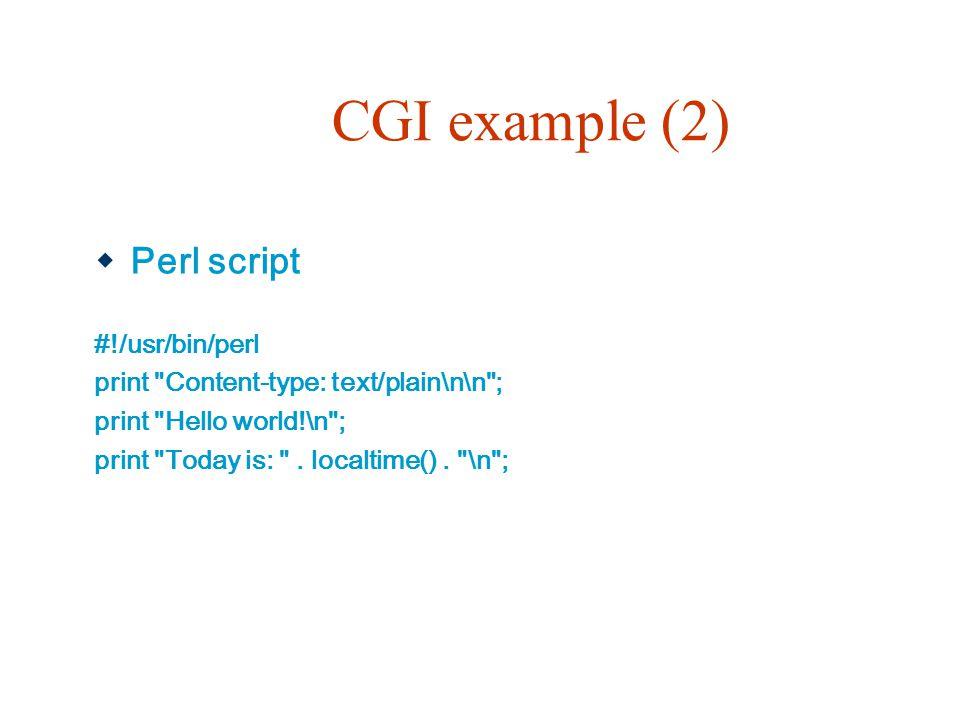 CGI example (2) Perl script #!/usr/bin/perl