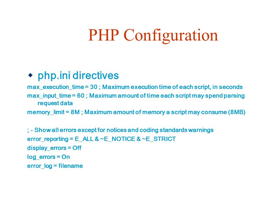 PHP Configuration php.ini directives