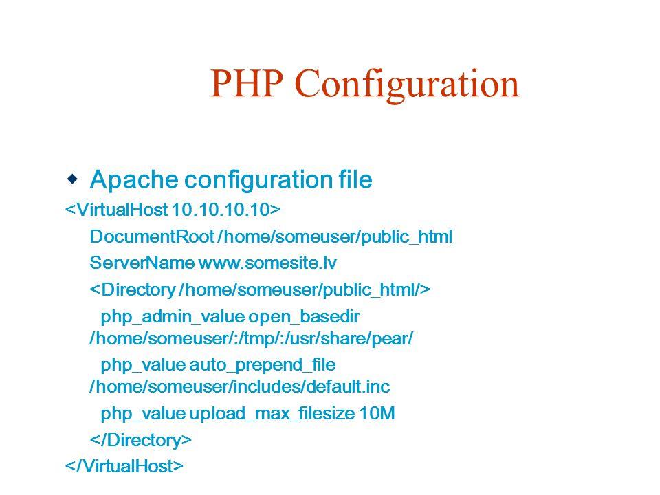 PHP Configuration Apache configuration file