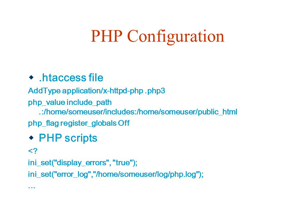 PHP Configuration .htaccess file PHP scripts