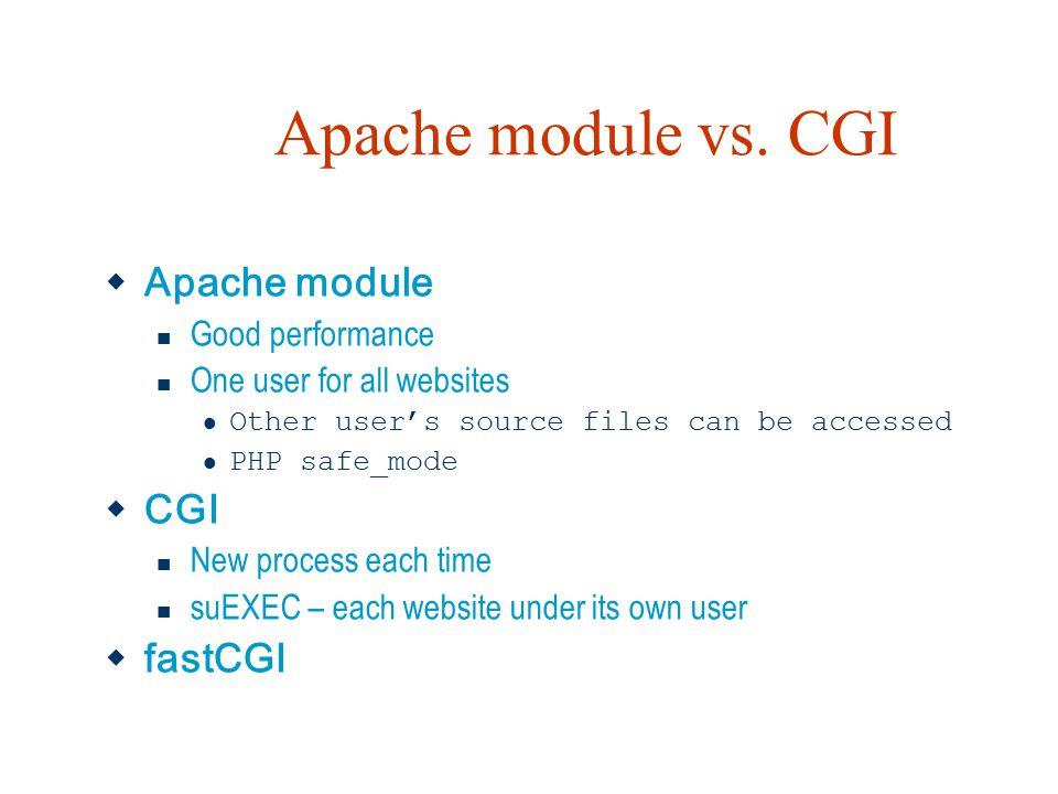 Apache module vs. CGI Apache module CGI fastCGI Good performance