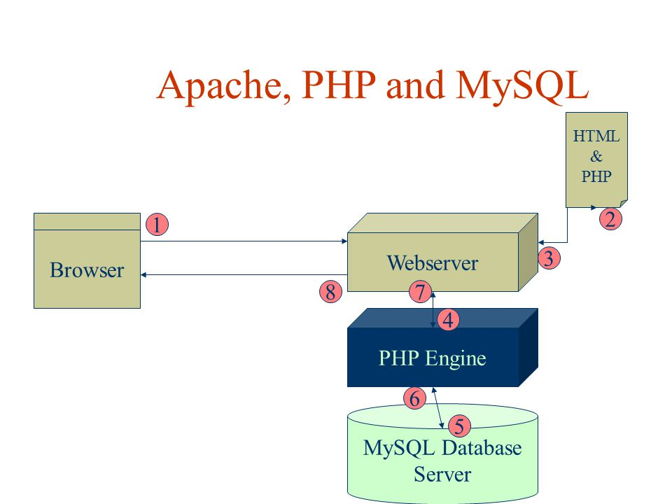 Apache, PHP and MySQL PHP Engine Browser Webserver MySQL Database