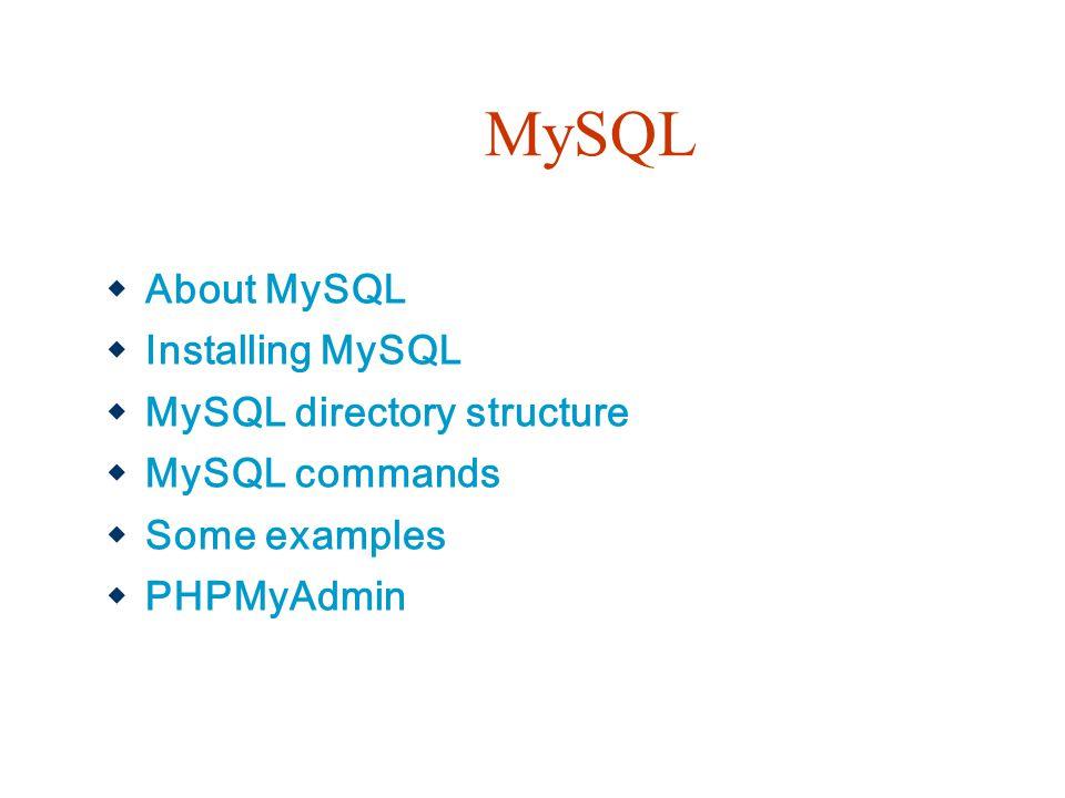 MySQL About MySQL Installing MySQL MySQL directory structure