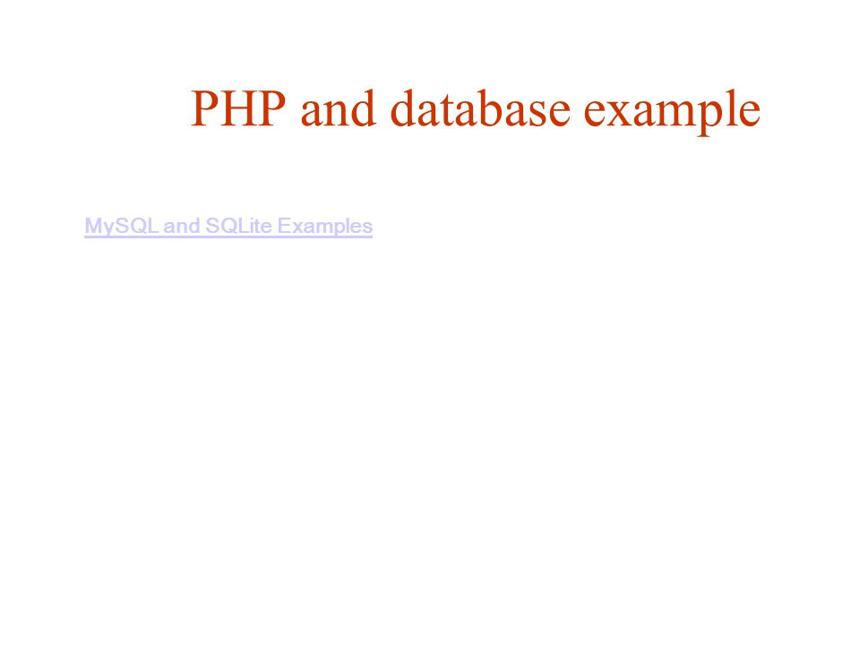 PHP and database example