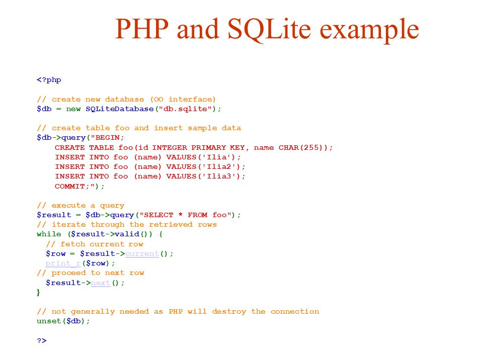 PHP and SQLite example