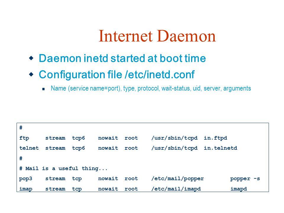 Internet Daemon Daemon inetd started at boot time
