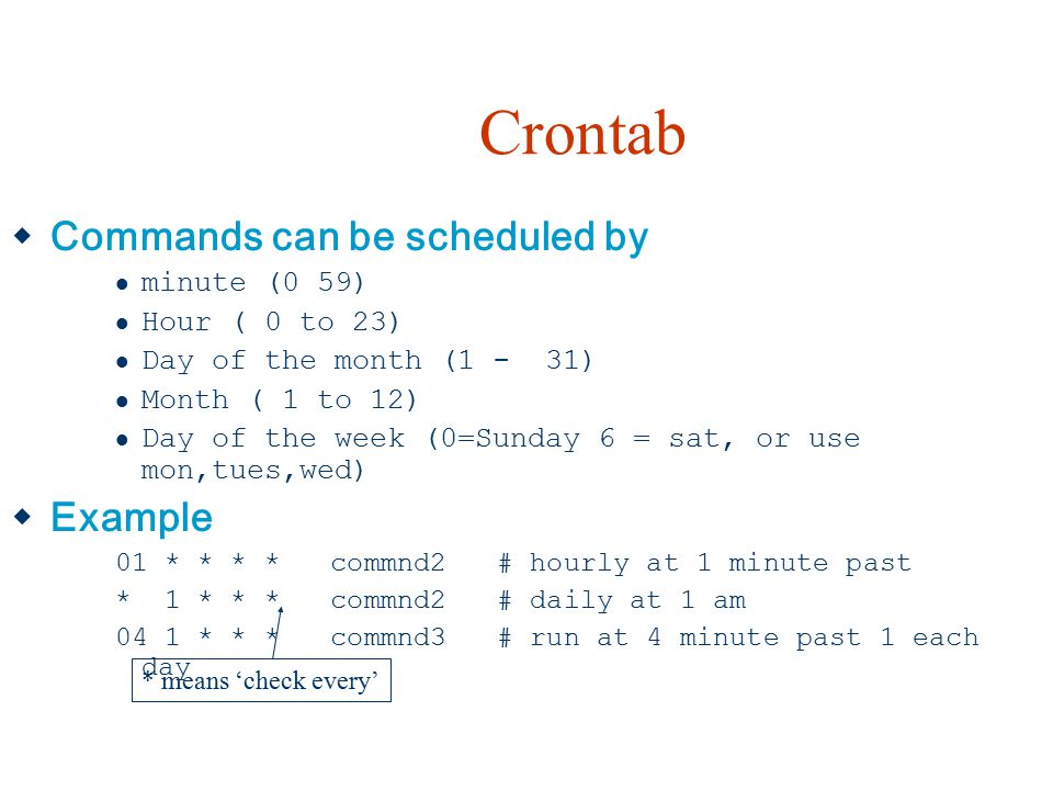 Crontab Commands can be scheduled by Example minute (0 59)