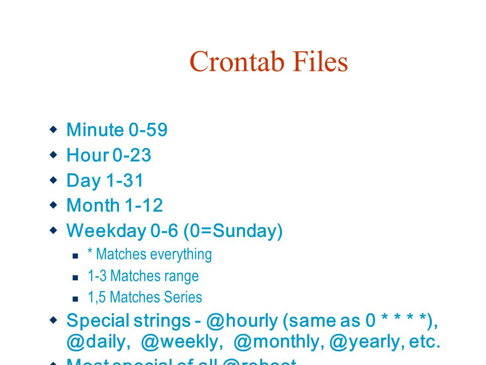 Crontab Files Minute 0-59 Hour 0-23 Day 1-31 Month 1-12