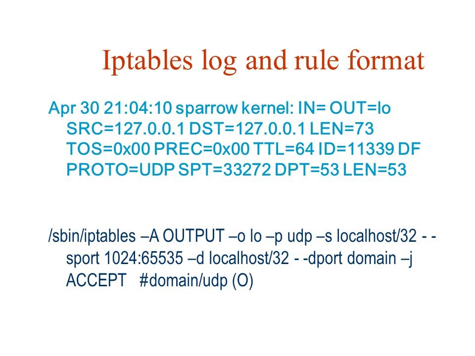 Iptables log and rule format