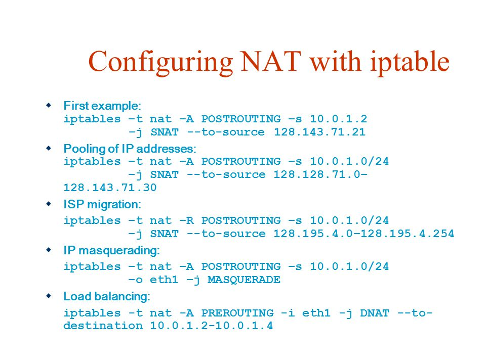 Configuring NAT with iptable