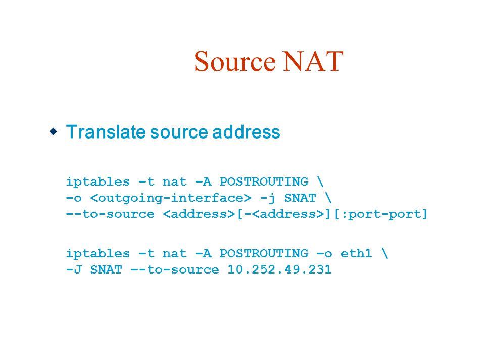Source NAT Translate source address